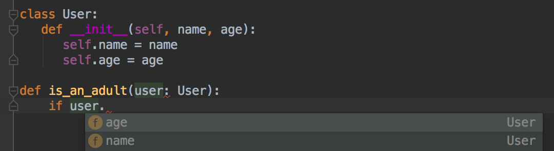 Pycharm autocomplete dropdown on a an instance of a the User class.