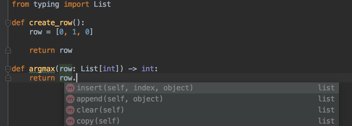 Pycharm autocomplete dropdown on a code with type annotation (`List[int]`) but without a defined variable passed as argument.